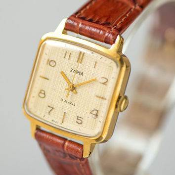 Lady's watch Dawn square wristwatch gold plated women's watch checked face elegant simple watch her premium handmade leather strap new