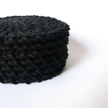 Crochet Face Scrubbies Black Reusable Cotton Rounds by MyHobbyShop