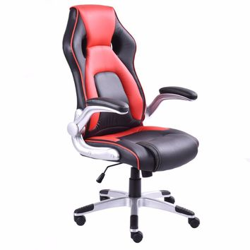 Leather Executive Racing Style Bucket Seat Office Chair Swivel Computer Gaming Chairs