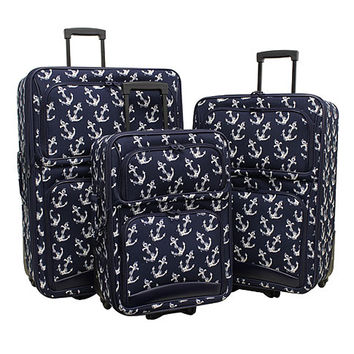 Navy Anchor Print Luggage Set