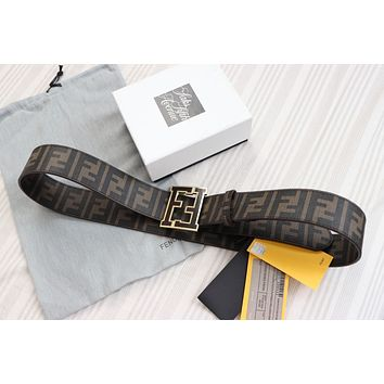 NEW Auth Fendi College FF Belt COFFEE BROWN 120/48 42-44 waist
