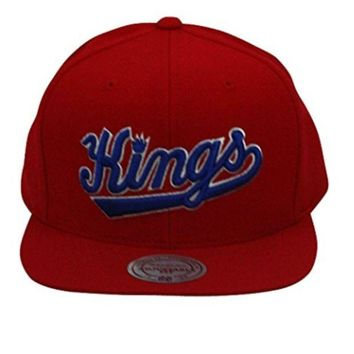ONETOW Mitchell And Ness NBA Throwback Sacramento Kings Snapback Hat Red