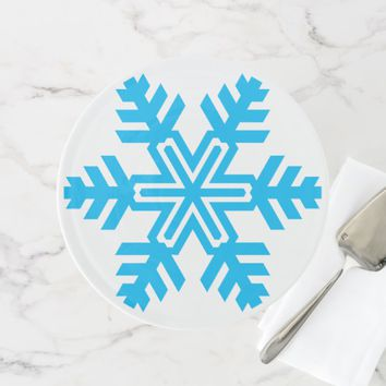 Blue snowflake elegant one-of-a-kind cake stand