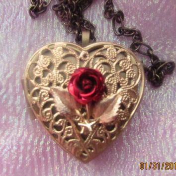 Music Box Locket One of a Kind Antique Brass with Vintage Red Metal Rose - Choose your song