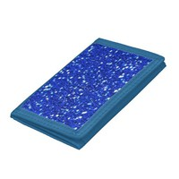 Pretty Royal Blue Sparkly Faux Glitter Look Trifold Wallets