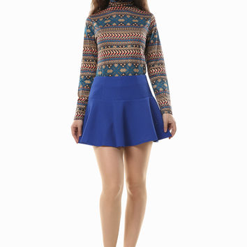 Vintage Aztec Tribal Print Turtleneck Sweater