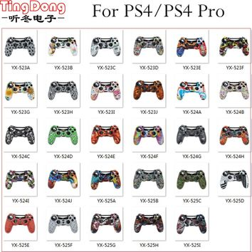 TingDong 29Colors Silicone Case For Sony PlayStation Dualshock 4 PS4 Slim Pro Controller Protective Camo Skin Cover