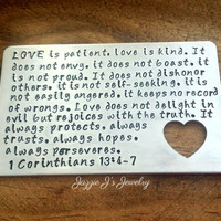 Customizable Gift, Love Is Patient Hand Stamped Wallet Insert, Wedding Vows, Wedding Gift, Gift for Him, Father's Day, Anniversary, Couples