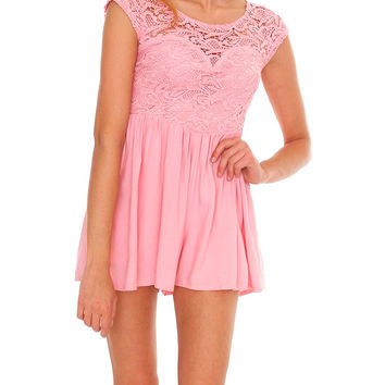 Delightful Lace Romper Blush