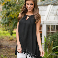 Black V-Cut Sleeveless T-Shirt with Lace Trim