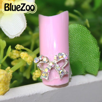 BlueZoo 10pcs pack Silver Hollow Out 3D Nail Art Decorations Glitter Colorful Bow Tie Nail Rhinestones Nail Design Beauty Tips