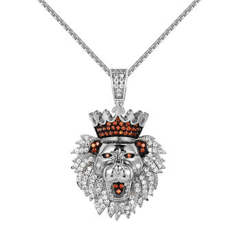 Iced Out King Lion Head Pendant Stainless Steel Chain 24 Inch Simulated Diamonds