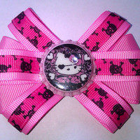 Pink Pirate Hello Kitty Skulls Hair Bow