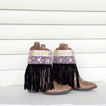 Fringe Boot Cuffs Bohemian Boot Covers Gypsy Boot Wrap Ankle Cuff Boot Bracelet Boot Accessories Fashion Boot Bling