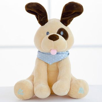 30cm Peek a boo dog Plush Toy Electronic dog And Seek Baby Kids Soft Doll Birthday Gift For Children