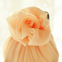 Light Orange Peach Chiffon Rose Purse - Size Small - Ready To Ship