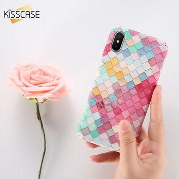 KISSCASE 3D Fish Scale Case For iPhone 6 7 5S X Case Coque For Samsung S8 S7 Note 8 Case Cute Pink For Huawei P10 P9 Plus Cover