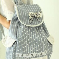 Sweet Strip Polka-dot Print Bowknot Backpack