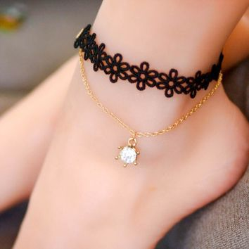 New Vintage bead chain ankle bracelet Foot Anklets Jewelry Handmade Black Lace Gothic anklets women foot Gift Party
