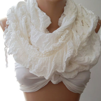 ON SALE / Creamy  White - Elegance Shawl / Scarf  - Traditional  fabric--