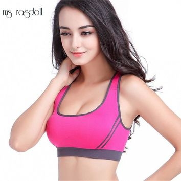 10 Color Fitness Women Sports Bra Patchwork Back Cross Padded Push Up Bra Breathable Seamless Crop Top Stretch Athletic Gym Vest