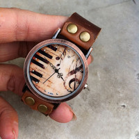 Vintage Brown Leather Piano Watch