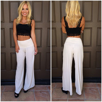 Isabel Palazzo Wide Leg Pants - CREAM