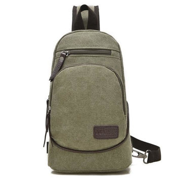Men Canvas Leisure Backpack Outdoor Travel Multifunction Crossbody Bag