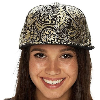 Lacey Hats Baseball Cap with Flat Bill - Gold and Black Paisley