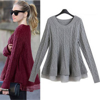 """Autumn and Winter Women Sweater and Pullover Women Poncho Knitting Sweater Women 2015 #FW025"