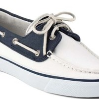Sperry Top-Sider Bahama Canvas 2-Eye Boat Shoe White/Navy, Size 10M  Women's Shoes