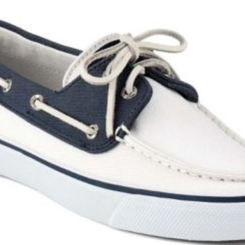 Sperry Top-Sider Bahama Canvas 2-Eye Boat Shoe White/Navy, Size 5.5M  Women's Shoes
