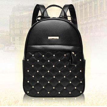 School Backpack High Quality Women Backpacks 2018 Hot Sale Fashion Causal School Bags Beaded Shoulder Bag PU Leather Backpacks Female OR804231 AT_48_3