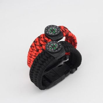 Emak Braided Bracelet Paracord Outdoor Survival Bracelet Camping Rescue Emergency Rope Bangles Compass Whistle Knife 4 in1