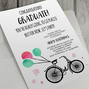Printable Graduation Party Invitation, 5 x 7 Inch, Class of 2016,  Seniors, High School, Watercolor Balloons, Bicycle,Congratulations, Party