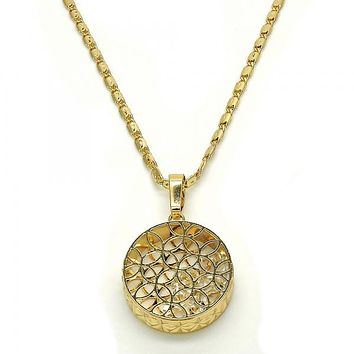 Gold Layered 04.63.1348.18 Fancy Necklace, with White Cubic Zirconia, Diamond Cutting Finish, Golden Tone