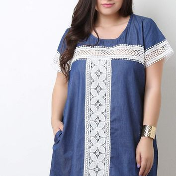 Crochet Detailed Denim Pocket Shift Dress