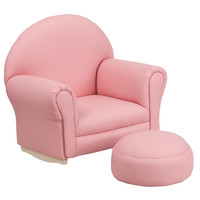 Kids Pink Vinyl Rocker Chair and Footrest