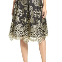 Eliza J Embroidered Mesh Midi Skirt | Nordstrom