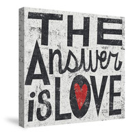 The Answer is Love Grunge Canvas Wall Art