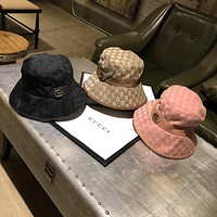 """Gucci"" Women All-match Retro GG Letter Leather Belt Buckle Fisherman Cap Fashion Sun Hat"