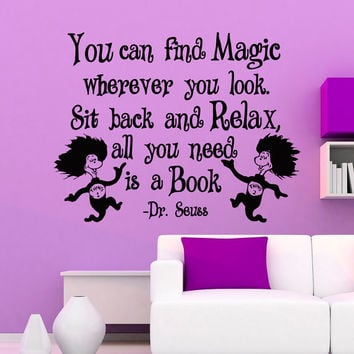 Dr Seuss Quotes Wall Decals You Can Find Magic Wherever You Look Vinyl Stickers Wall D & Dr Seuss Quotes Wall Decals You Can Find from FabWallDecals on