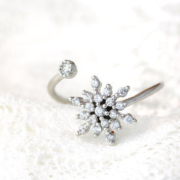 famous brand snowflake ring open wrap elsa ring cool jewelry fashion rings for women birdesmaid wedding - Wedding Ring Wraps