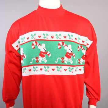 80s Ugly CHRISTMAS SWEATER / Mice A Marching With Candy Canes Sweatshirt