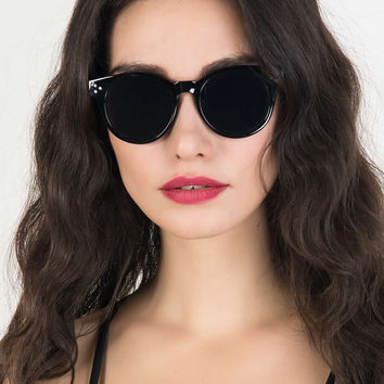 Black Stud Detail Round Sunglasses