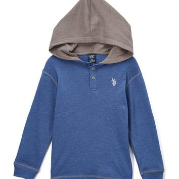 Heather Blue Henley Hoodie - Toddler & Boys