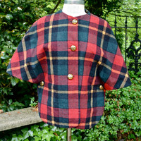 Vintage Cape Tartan Plaid Jacket Country Place Wool Red Green Yellow Plaid 60's Mad Men with Brass Buttons