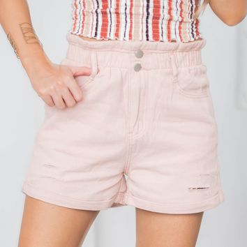 Elastic Paper Bag Vintage Distressed Denim Shorts | Pink
