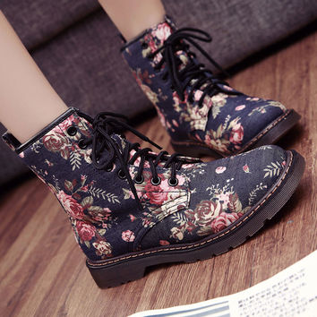 Ankle Martins Print Single Women Flat Boots Round Toe Floral Lace-up Spring Autumn Denim Vintage Casual Platform Cow Muscle