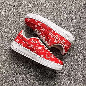Supreme X Lv X Nike Air Force 1 Af1 Red Sneaker Shoe Size 36 45 | Best Deal Online